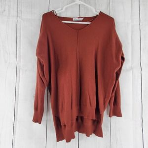 Cents Of Style S/M Rust Orange High Low V-neck Long Dolman Sleeve Sweater